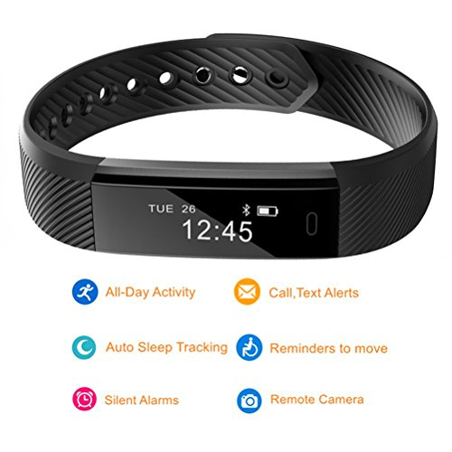 Kybeco Fitness Tracker Water Resistant Smart Activity Wristband with Pedometer Calorie Tracking Sleep Monitoring for iPhone and Android Phone