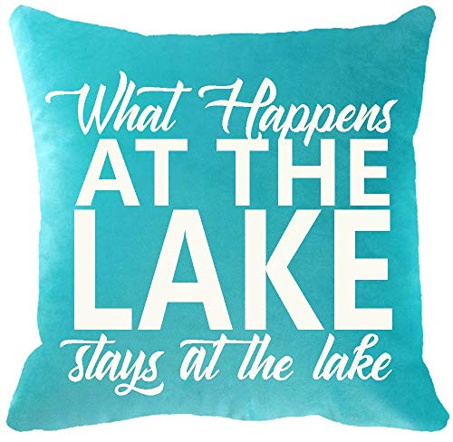 YFYMG Two Sided Printing Leisure Life Nordic Funny Sayings What Happens at The Lake Stays at The Lake New Home Decorative Soft Cotton Throw Cushion Cover Pillow Case Square 18 - Cherry Bed Sided 2