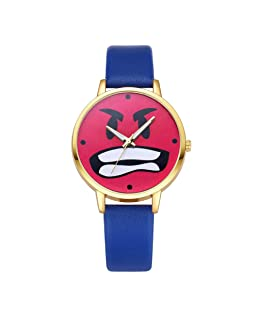 Sanwood Cute Red Angry Expression Faux Leather Band Round Quartz Wrist Watch Women Girls Gift Sapphire Blue