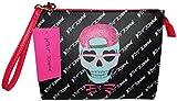 Betsey Johnson Logo Large Wristlet Purse Hand Bag Skulls Pouch Cosmetics
