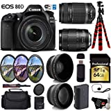 Canon EOS 80D DSLR Camera with 18-135mm is STM Lens & 55-250mm is II Lens + UV FLD CPL Filter Kit + Wide Angle & Telephoto Lens + Camera Case + Tripod + Card Reader - International Version
