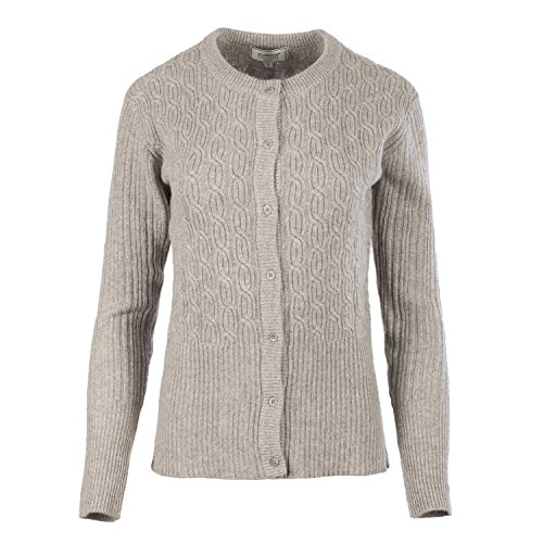 Dunedin 100% Cashmere Women's Double Cable Short Buttoned Cardigan Silver Grey (S) by Dunedin Cashmere