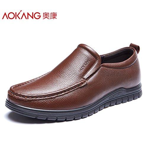 Aemember nella caduta dell uomo Business Casual scarpe comode scarpe da indossare a testa circolare di calzatura ,42, marrone