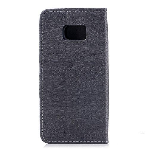 Funda para Samsung S7 Edge, CaseLover Piel PU Flip Folio Carcasa para Samsung Galaxy S7 Edge G935 con TPU Silicona Case Cover Interna Estilo Libro Cuero Tapa Cierre Magnético, Función de Soporte, Bill Gris