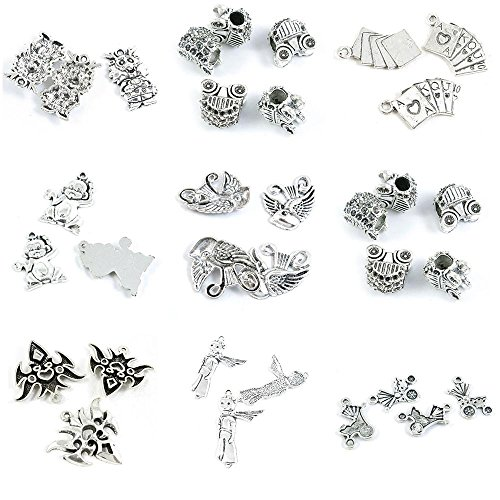 - 33 Pieces Antique Silver Tone Jewelry Making Charms Baby Carriage Stroller Scarf Boy Carnival Masks Pumpkin Cart Loose Beads Cartoon Bird Monkey Poker Cards Cute Dragon