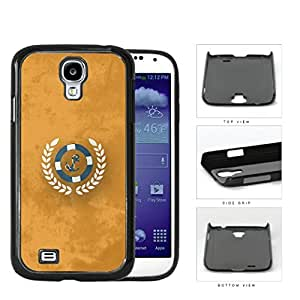 Teal Anchor Nautical Wheel on Orange Grunge Background Samsung Galaxy S4 I9500 Hard Snap on Plastic Cell Phone Case Cover