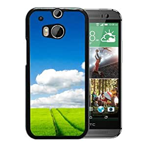 New Beautiful Custom Designed Cover Case For HTC ONE M8 With Nature Grass Field White Clouds Phone Case