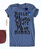 Diliflyer Women's Mother's Day Mom Life Boys Girls Letters T Shirts Graphic Tees (XL, A-Mama-Navy)