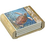 Counter Art Absorbent Coasters Beneath The Sea-Turtle In Wooden Holder, Set of 4