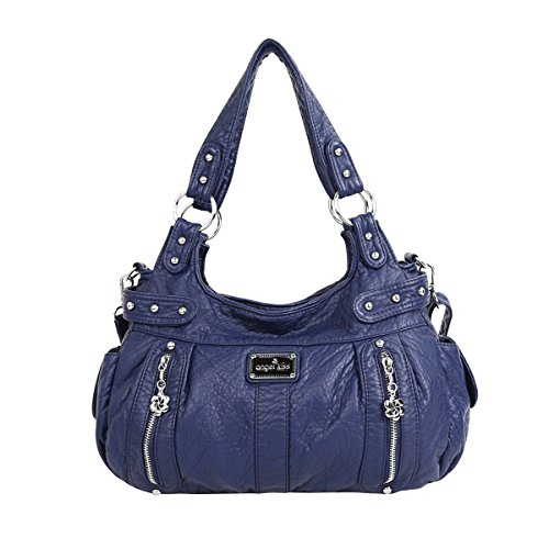 Purses Handbags Bags Angelkiss Shoulder 2 AK19244 Top Blue Leather 2 Washed Zippers Large Women capacity 8xZ8qvrX
