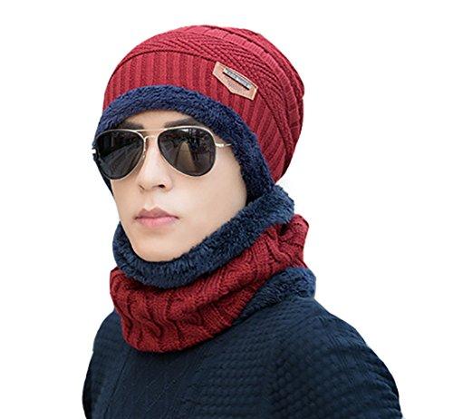 gorrita con Eleter Gorra suave pañuelo invierno Rojo caliente Hombre de punto de sombrero 6rvqpzry