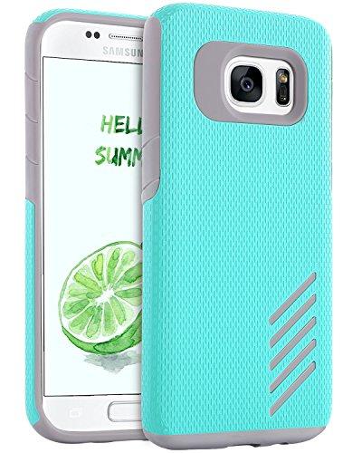 Galaxy S7 Edge Case, S7 Edge Case, BENTOBEN Dual Layer Hybrid Hard Polycarbonate Flexible TPU Bumper Shockproof Drop Resistant Protective Case for Samsung Galaxy S7 Edge, Mint Green/Grey