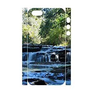 3D IPhone 5,5S Case Tropical Waterfalls 2 for Teen Girls Protective, Iphone 5s Case Vinceryshop, [White]
