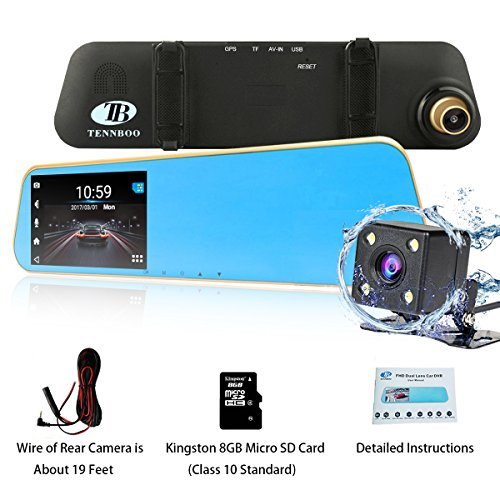 TENNBOO FHD Mirror Car Dash Cam Front and Rear Dual Lens Dashboard Recorder,4.3' LCD Screen In Car Recording Video DVR G-Sensor,Parking Mode,Loop Recording Gold ,8GB TF Card Included
