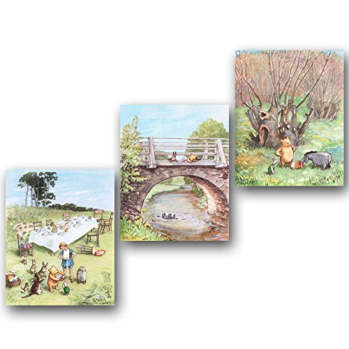 (Set of 3) Winnie the Pooh Prints (Baby Room Decor, Classic Nursery Wall Art)