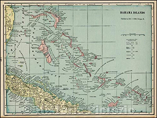 Historic Map | Bahama Islands, 1898, George F. Cram | Vintage Wall Art 24in x 18in