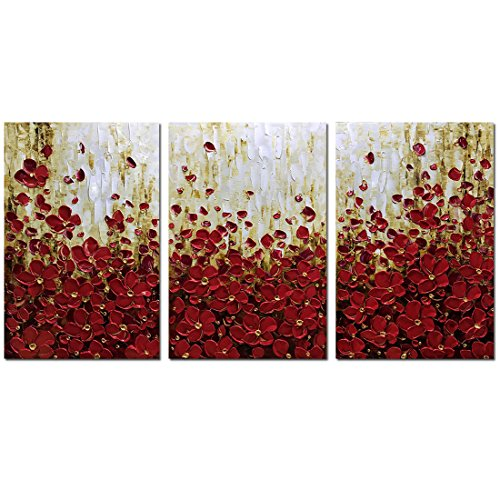 Metuu Modern Canvas Paintings, 36x72 Inch Texture Palette Knife Red Flowers Paintings Home Decor Wall Art Colorful 3D Flowers Wall Decoration Abstract Painting Wood Inside Framed Ready to ()