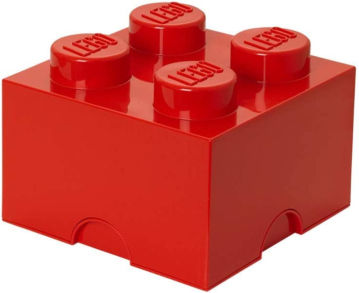 "Room Copenhagen Storage Brick ""Lego"" with 4 Knobs, Red"