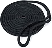 """Crown Sporting Goods Black 15' Double-Braided 3/8"""" Thick Nylon"""
