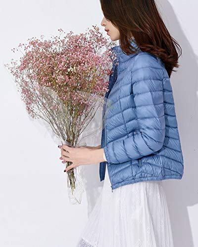 Suncaya Skyblue Windproof Coat Stand Ultralight Jacket Elegant Puffer Women's Collar Warm Packable Down 7rq7f