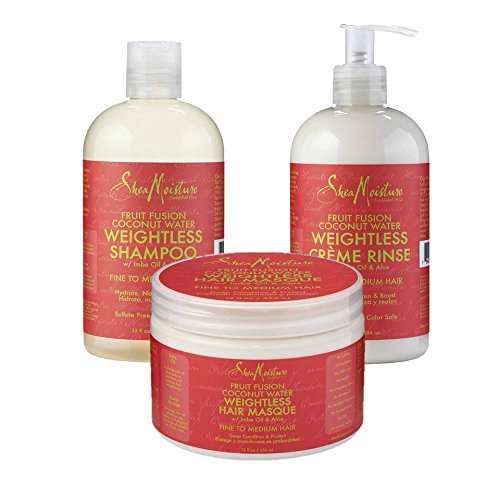 SheaMoisture Fruit Fusion Coconut Water Weightless Combo – Includes 13 oz. Shampoo, 13 oz. Crême Rinse & 12 oz. Hair Masque