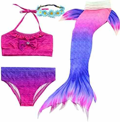 61c89f2b1f 3Pcs Girls Mermaid Tails Swimsuit Princess Bikini Suit Tropical Tankini  Swimming Bathing Set,3-