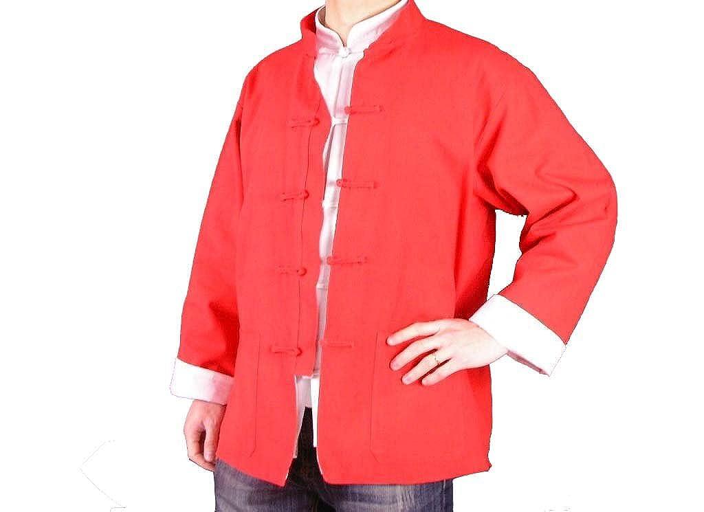 100% Algodón Rojo Chaqueta Abrigo de Artes Marciales Kung Fu/Tai Chi XL-XS o Hecho A Medida #125 YNGFWY125