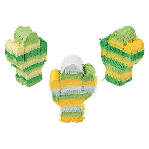 Fun Express - Mini Cactus Pinata (3pc) for Cinco de Mayo - Party Decor - General Decor - Pinatas - Cinco de Mayo - 3 Pieces ()