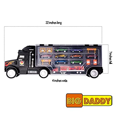 Big Daddy Super Mega Extra Large Tractor Trailer Car Collection Case Carrier Transport Toy Truck for Kids Includes 8 Cars 1 Small Tractor Trailer & 6 More Accessories, 22 Inch Super Duty Truck: Toys & Games