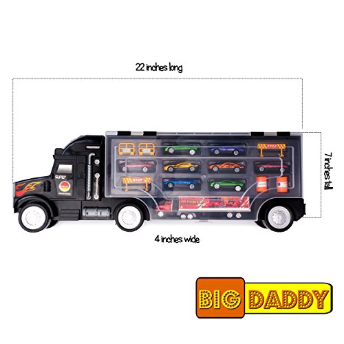 Big Daddy Super Mega Extra Large Tractor Trailer Car Collection Case Carrier Transport Toy Truck For Kids Includes 8 Cars 1 Small Tractor Trailer & 6 More Accessories  ()