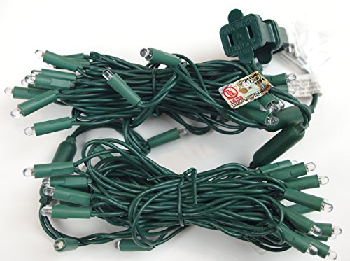 LED String Lights, 50 Light COOL WHITE 5MM LED, Round Lens, Green Wire, 17 Foot Length. These Kringle Bros Commercial Grade LED Lights are UL Listed and Fused for Safety - 1 Pack by 360 Lighting Source (Image #3)