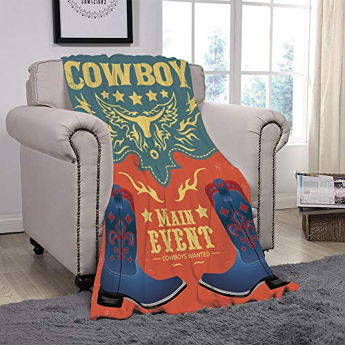 Light weight Fleece Throw Blanket/Western,Event Poster Design Traditional Cowboy Shoes Abstract Bulls Head Rodeo Decorative,Slate Blue Coral Yellow/for Couch Bed Sofa for Adults Teen Girls -