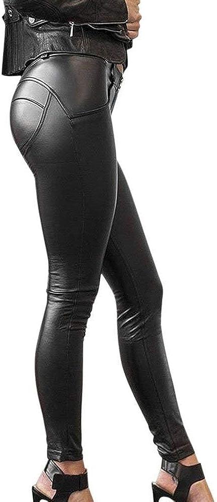 Pantalon Cuero Mujer Vintage Leggins Cuero Skinny Delgado Niñas Ropa Pants Sintético Cuero Treggins Slim Fit Cintura Alta Pantalon Cuero Negro