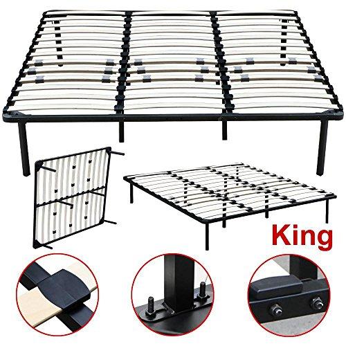Topeakmart Twin Full Queen King Size Platform Metal Bed Frame Bedroom Wood Slats Mattress Foundation Base without Headboards (King)