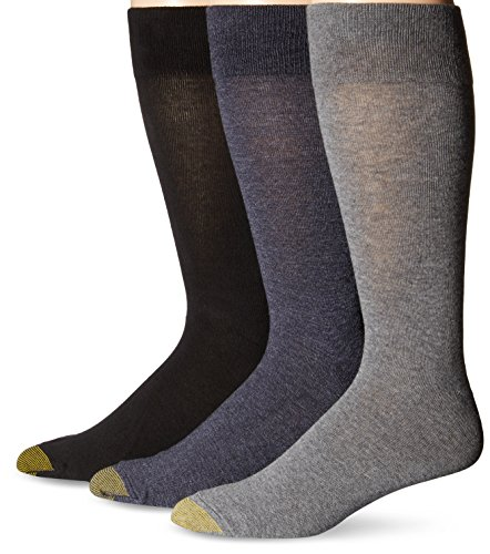 Gold Toe Mens 3-Pack Flat Knit Extended Size Crew Socks