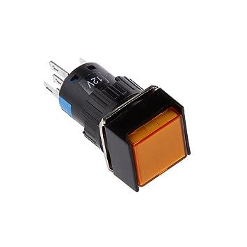 Blau 3XL 5-polig 24V 16mm Taster Metall LED Beleuchtet Drucktaster Ein-Aus Taster f/ür Auto KFZ 19x19mm