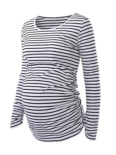 Long Sleeve Maternity Tee (Women's Maternity Ruched Tunic Tops Mama Clothes Long Sleeve Scoop Neck Pregnancy T-Shirt White Black Stripe XL)