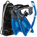 Cressi Italian Design Palau Long Adjustable Snorkeling Fin Flippers with SPE Liberty nUltra-clear Tempered Glass Lens Panoramic View Mask Dry Snorkel Set and Snorkeling Gear Bag