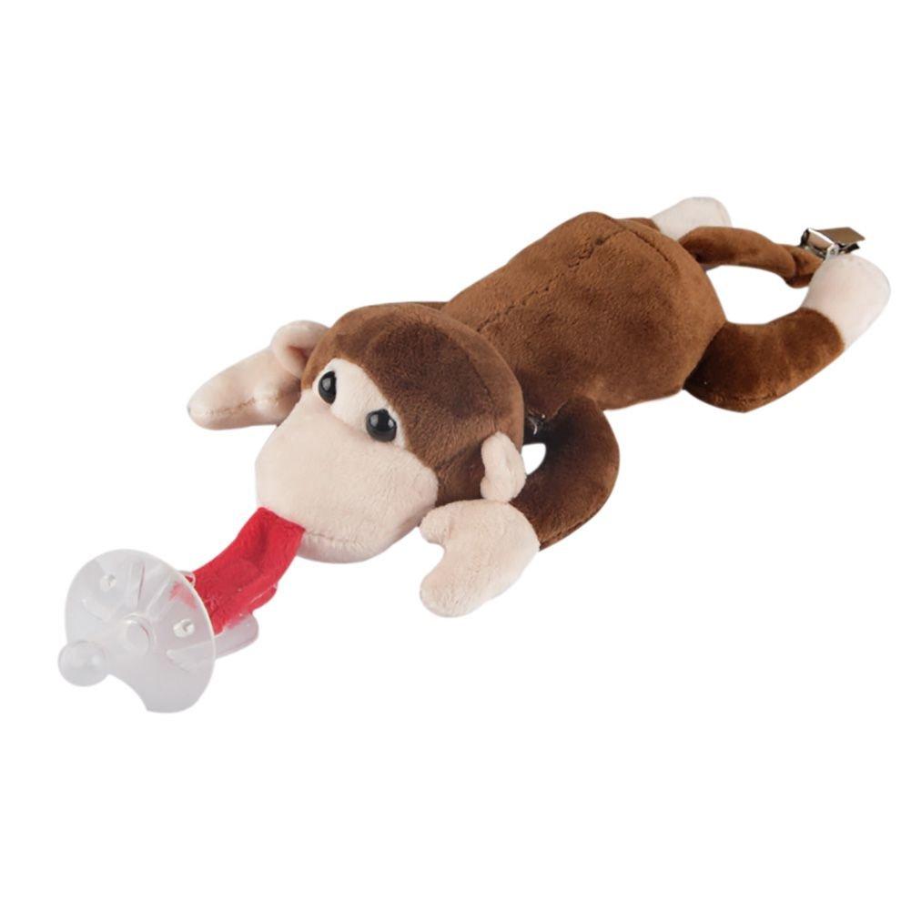 Minuya Chupete de bebé con peluche de animales, chupete sin BPA con clip para chupete en la espalda de 0 – 3 años bebé niños B-Monkey Talla:mediano