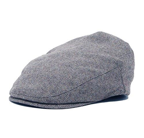 Born to Love - Boy's Tweed Page Boy Newsboy Baby Kids Driver Cap Hat (L, Grey Stripe)