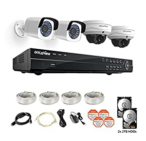 LaView 4-Megapixel (2688 x 1520) 8CH PoE NVR Security Cameras System - 4 4MP Security Camera System - 2 4MP Bullet and 2 4MP Dome IP Surveillance Cameras, 100ft Night Vision, 4TB Hard Drive by LaView