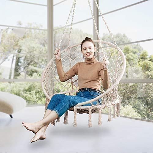 Greenstell Hammock Chair Macrame Swing, Blue