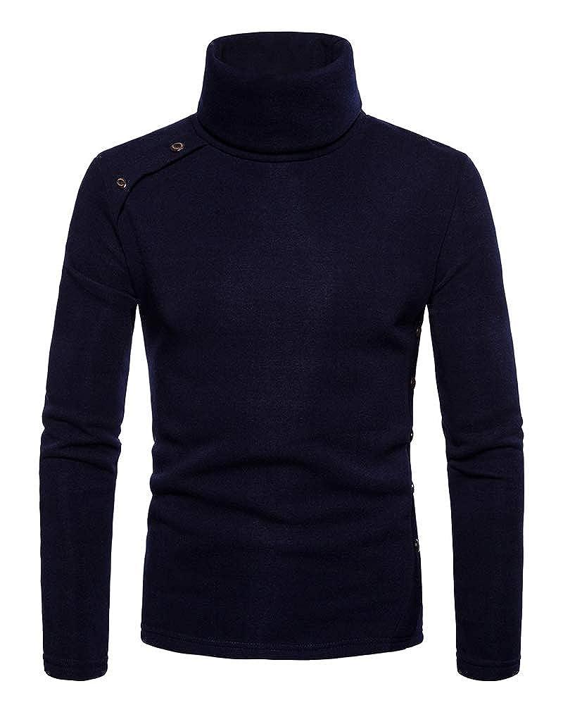 ZiXing Pullover Haut Homme Hiver Bouton sous Pull à Col Roulé Manches Longues Casual