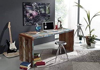 Bureau vintage cm en bois recyclé avec tiroirs coloris
