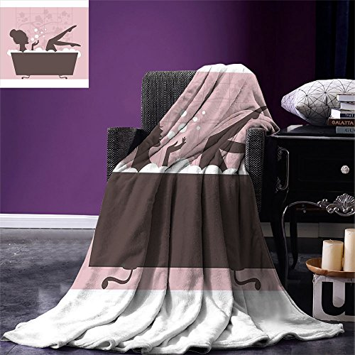 smallbeefly Teens Girls Digital Printing Blanket Beautiful Woman in Bath Tub Spa Treatment Relaxing Concept Vintage Style Summer Quilt Comforter Pink Dark Grey by smallbeefly