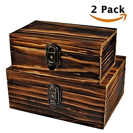 2 Sets Crafted Wood Box Wooden Boxes Treasure Chest Memory Hobby Favor  Preservation Rustic Cabinet Archival