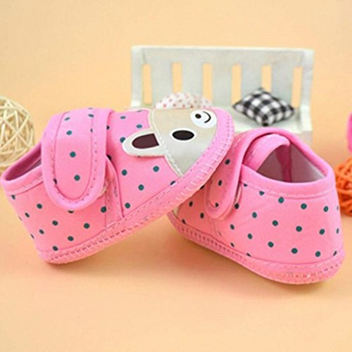 Auxma Zapatos de la niña de la historieta muchacho suave Sole cuna del niño zapatillas de lona (0-10 meses) Rojo