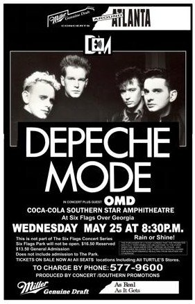 Depeche Mode Six Flags Georgia 1988 Retro Art Print — Poster Size — Print of Retro Concert Poster — Features Dave Gahan, Martin L. Gore, Andrew Fletcher and Alan Wilder .