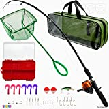 Play22 Fishing Pole For Kids - 32 Set Kids Fishing Rod Combos - Kids Fishing Poles Includes Fishing Tackle, Fishing Gear, Fishing Lures, Net, Carry On Bag, Fully Fishing Equipment - For Boys And Girls