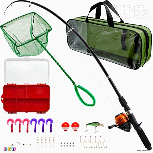 Play22 Fishing Pole For Kids - 40 Set Kids Fishing Rod Combos - Kids Fishing Poles Includes Fishing Tackle, Fishing Gear, Fishing Lures, Net, Carry On Bag, Fully Fishing Equipment - For Boys And Girls Combo Kids Fishing Rod